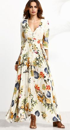 US$ 25.48 Gracila Boho Floral Print Split Tie V-neck Maxi Dress For Women