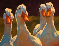 Quack Heads by Cheri Christensen, Oil, 8 x 10 Pretty Art, Cute Art, Afrique Art, Art Drawings Sketches, Animal Paintings, Bird Art, Art Inspo, Painting & Drawing, Amazing Art