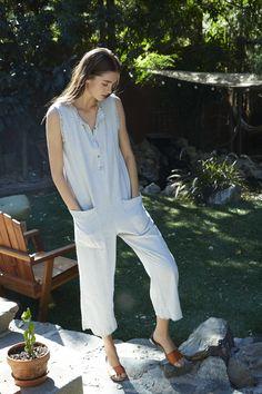Farah Woven Cotton Stripe Sleeveless Jumper, Velvet by Graham and Spencer.