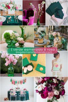 Decoração de Casamento : Paleta de Cores Verde Esmeralda e Rosa | Blog de Casamento DIY da Maria Fernanda