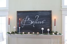 SimpleDIYChalkboardMantel thumb Christmas Decorating Ideas: Holiday Housewalk Tour
