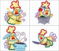 """""""Chef Chicken Applique"""" This wonderful little chicken wants to fill your kitchen with incredible aromas, but not quite in the way you might imagine. Perfect for towels, hot pads and pot holders!  #EmbroideryDesigns #MachineEmbroidery #Embroidery"""