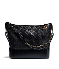 f19b85107626 Aged Calfskin, Smooth Calfskin, Silver-Tone & Gold-Tone Metal Black CHANEL'S  GABRIELLE Large Hobo Bag