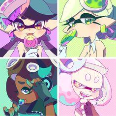 Squid Sisters and Off The Hook Splatoon Memes, Splatoon 2 Art, Splatoon Comics, Illustration Kawaii, Splatoon Squid Sisters, Pearl And Marina, Steven Universe, Callie And Marie, Kawaii 365
