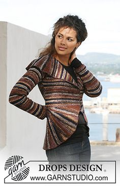 """Ravelry: 125-36 Jacket in garter st in """"Fabel"""" with shawl collar, curved front pieces and turns pattern by DROPS design - free pattern"""