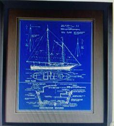 Ship Blueprint Framed Wall Print Nautical Office Man Cave Home Decor Women