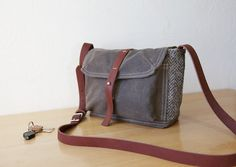 Waxed Canvas, Wool and Leather Satchel // Herringbone // Weather Resistant // Organic Cotton Canvas Lining. $112.00, via Etsy.