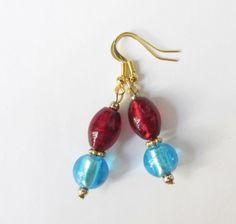 Lampwork-Ohrhänger rot-türkis-gold von soschoen auf DaWanda.com