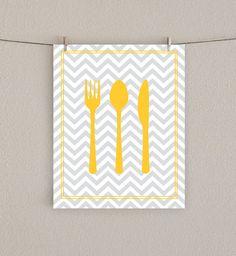 Fork Knife Spoon Kitchen Art Print ~ ideas for making kitchen art