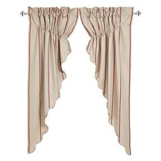 Charlotte Rouge Scalloped Lined Prairie Curtains - Primitive Star Quilt Shop