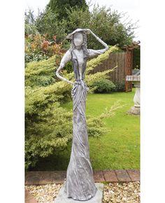 Garden Sculpture. Elegant Grey Lady with Lacy Hat, Contemporary Garden Sculpture
