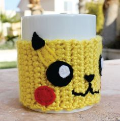 Pikachu Inspired Coffee Mug Tea Cup Cozy: Pokemon -ish Japanese Cartoon Crochet Knit Sleeve