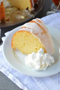 This Meyer Lemon Bundt Cake recipe uses Greek yogurt in place of all the butter a traditional bundt cake recipe would call for. Lemon Recipes Easy, Meyer Lemon Recipes, Delicious Cake Recipes, Pound Cake Recipes, Irish Recipes, Lemon Desserts, Homemade Desserts, Best Dessert Recipes, Easy Desserts