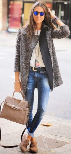 #fall #style #looks Tweed Coat + Denim