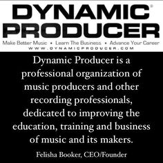 "Dynamic Producer is a professional organization of music producers and other recording professionals dedicated to improving the education training and business of music and its makers. ""#superproducer #superproducers #musicbusiness #christianhiphop #futureproducer #christianproducer #grammyproducer #musicproducerlife #producerlife #musicnetworking #hiphopproducer #producermotivation #producergrind #produceroftheyear #musicproducer #beatmaking #imakebeats  #maschinestudio #monsterbeats…"