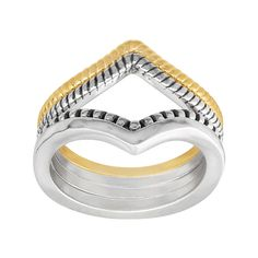 "Head to the mountains with this set of four stacking rings, each crafted in a chic chevron design! Wear these rings solo, stacked, or inverted to create an open diamond shape, all crafted in sterling silver and 18K gold plating. Ring face measures 1/2 inches in width stacked. Piece comes with a "".925"" sterling silver quality stamp as a symbol of guaranteed product quality."