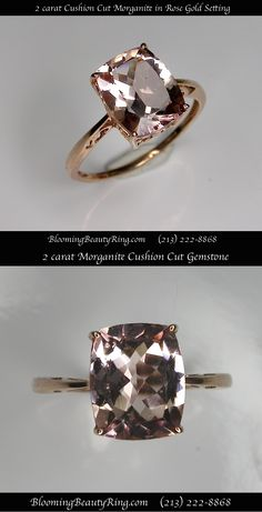 2 carat Cushion Cut Morganite gemstone in pretty Rose Gold Ring   http://www.BloomingBeautyRing.com  #Morganite #2carat