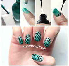 DIY Mermaid nails via Lulu's blog!