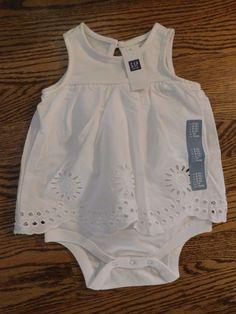 NWT Gap Baby Girl 1Pc White Eyelet Body Double 18-24M Free Shipping NEW #Gap #Everyday