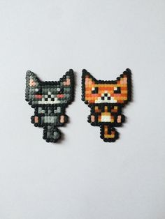 Pick Gray Kitty or Orange Kitty Magnet Mini Hama Beads, Diy Perler Beads, Perler Bead Art, Pearler Beads, Fuse Beads, Perler Bead Templates, Pearler Bead Patterns, Perler Patterns, Pixel Art