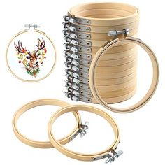 Art Craft Handy Sewing 12 Pieces 3 Inch Wooden Round Embroidery Hoops Adjustable Bamboo Circle Cross Stitch Hoop Ring Bulk Wholesale for Christmas Ornaments