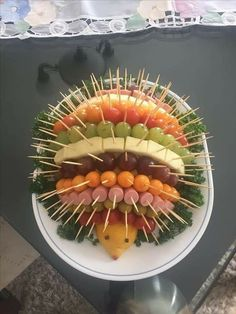 Porcupine fruit and veggie tray Food Platters, Party Platters, Meat Platter, Meat Trays, Cheese Fruit Platters, Meat And Cheese Tray, Cheese Art, Party Food Buffet, Cheese Food
