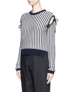 CEDRIC CHARLIER - Bow cutout shoulder stripe sweater | Multi-colour Sweater Knitwear | Womenswear | Lane Crawford - Shop Designer Brands Online