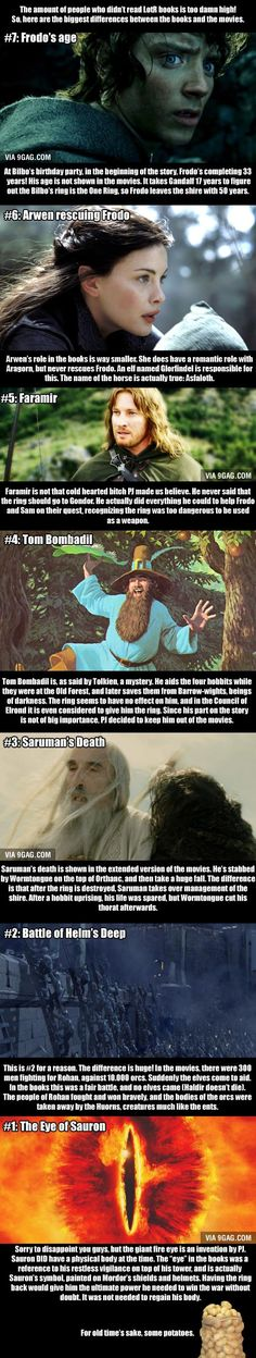 Another thing that is different in the books is that Frodo NEVER questioned Sam`s loyalty.   That, the change in Farimor`s chacter, and the fact that the Cleansing of the Shire was cut out really disappointed me.  If Peter Jackson hadn`t done such an incredible job with everything else, I probably would have hated the movies.  I often want to tell the powers that be that the books last for a reason.  Their changes don`t help.