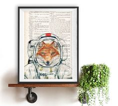 Astronaut Fox Print Poster, Space Fox, Fox space suit ,DICTIONARY Print, Book Pages, Home Decor, DORM decor, Wall Art decor,funny fox print by NotMuchToSay on Etsy https://www.etsy.com/listing/253996074/astronaut-fox-print-poster-space-fox-fox