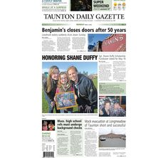The front page of the Taunton Daily Gazette for Monday, May 4, 2015.