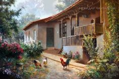 Cabin, Landscape, House Styles, Nature, Painting, Home Decor, Fine Art, Scenery, Paintings