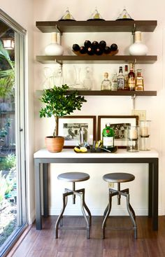 Love the mix of bar supplies and decor