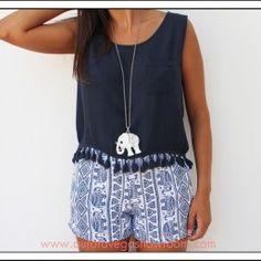 blusa bambula azul índigo