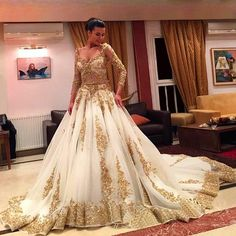 Brides Wedding Dresses Hot ! Luxury Gold Lace And White Long Sleeve Ball Gown Wedding Dresses Sexy Beaded Arabic Muslim Wedding Gowns 2015 Vestido Casamen One Shoulder Wedding Dress From Aijiayi, $234.66| Dhgate.Com