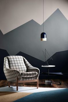 Get decorative wall Painting ideas and creative design tips to colour your interior home walls with Berger Paints. check out Inspirational wall design tip for interior walls. Geometric Wall Paint, Geometric Form, Modern Wall Paint, Geometric Mountain, Geometric Designs, Wall Paint Patterns, Diy Wall Painting, Painting Bedroom Walls, Wall Paintings