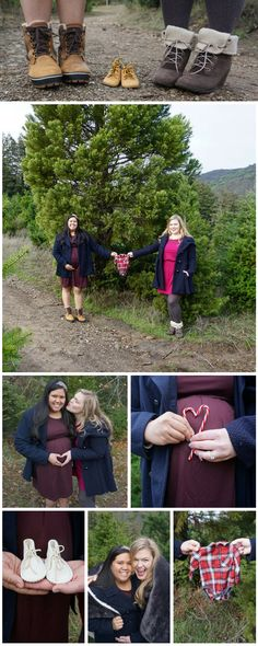 Lesbian maternity photography session at christmas tree farm   #candycanes #twomoms #lesbianmommies