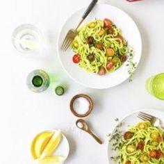 Noodled Zuchinni with Pistachio Pesto Recipe