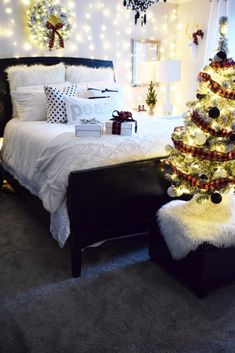 Don't forget to add some Christmas Cheer to your bedroom! A small tree, a wreath and some twinkle lights will do the trick! HomeGoods Sponsored Pin.