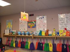 glue clothes pins to the wall; makes it easy to switch out anchor charts