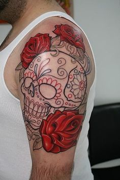 25 sugar skull tattoo designs. I love the shaping and size of this one