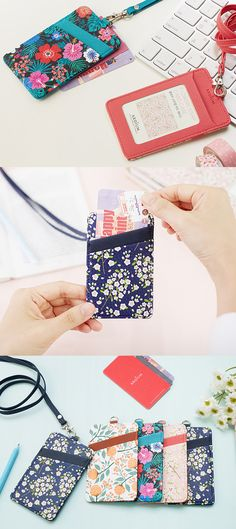 Look at this pretty floral card holder with 3 pockets: 2 for credit or business cards, and 1 for your ID! Now this is how you're going to be the trendiest, smartest at school or work!