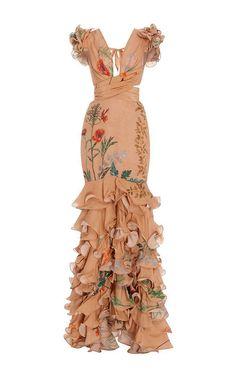 Johanna Ortiz Yemanya Deep V-neck Long Dress Vestidos Fashion, Fashion Dresses, Dress Dior, Pretty Dresses, Beautiful Dresses, Evening Dresses, Formal Dresses, Long Dresses, Ruffled Dresses