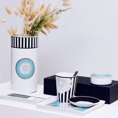 Camellia - Porcel Porcelain, Black & White, Made in Portugal