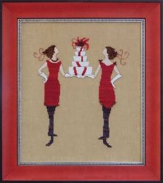 Red Gifts (Red Ladies Collection) Cross Stitch Pattern Embroidery Patterns by Nora Corbett Cross Stitch Needles, Cross Stitch Kits, Counted Cross Stitch Patterns, Cross Stitch Designs, Cross Stitch Embroidery, Embroidery Patterns, Mill Hill Beads, Cross Stitch Supplies, Beading Needles