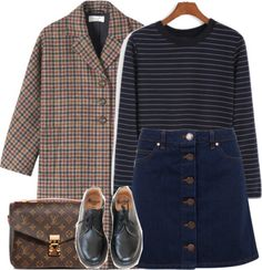 Sans titre #2604 by solinestyle featuring long sleeve shirts ❤ liked on PolyvoreLong sleeve shirt, £10 / Toast wool coat / Miss Selfridge mini skirt, £34 / Dr. Martens oxford shoes, £62 / Louis vuitton purse