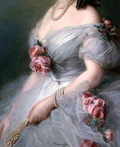 Ivan Kuzmich Makarov: Portrait Of a Lady- Vintage florals, romantic, Victorian connotations. Classic Paintings, Old Paintings, Aesthetic Painting, Aesthetic Art, Renaissance Kunst, Arte Fashion, Arte Popular, Victorian Art, Classical Art