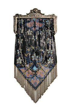 1920s Art Deco Enameled Metal Mesh Evening Bag in Black, Blue  France http://fashion.1stdibs.com/avl_item_detail.php?id=53991
