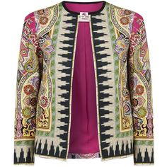 Etro Ikat Print Jacket (€715) ❤ liked on Polyvore featuring outerwear, jackets, cocktail jackets, paisley jackets, etro jacket, purple jacket and collarless jacket