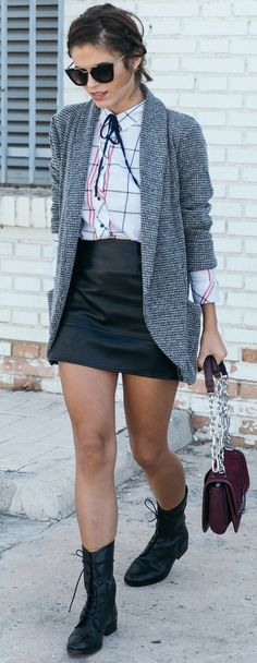 #fall #street #style | Black Boots + Black and White + Checks