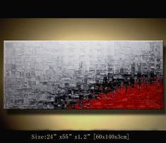 Original Abstract Painting, Modern Textured Painting, Palette Knife, Painting Oil on Canvas,Home Decor, by Chen n069 Size: 24x55x1.2 [60x140x3cm]